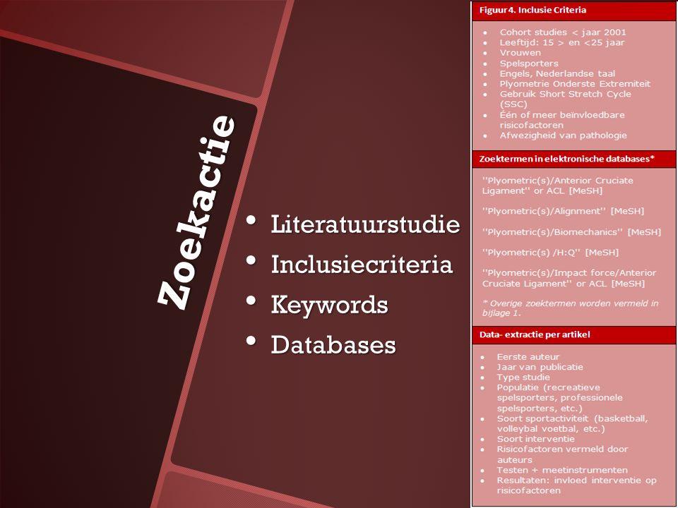 Zoekactie Literatuurstudie Literatuurstudie Inclusiecriteria Inclusiecriteria Keywords Keywords Databases Databases