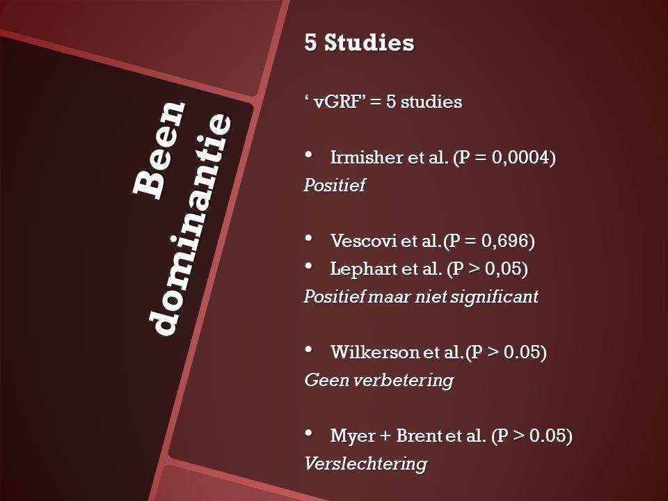 Been dominantie 5 Studies ' vGRF' = 5 studies Irmisher et al. (P = 0,0004) Irmisher et al. (P = 0,0004)Positief Vescovi et al.(P = 0,696) Vescovi et a