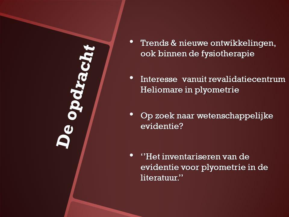 De opdracht Trends & nieuwe ontwikkelingen, ook binnen de fysiotherapie Trends & nieuwe ontwikkelingen, ook binnen de fysiotherapie Interesse vanuit r
