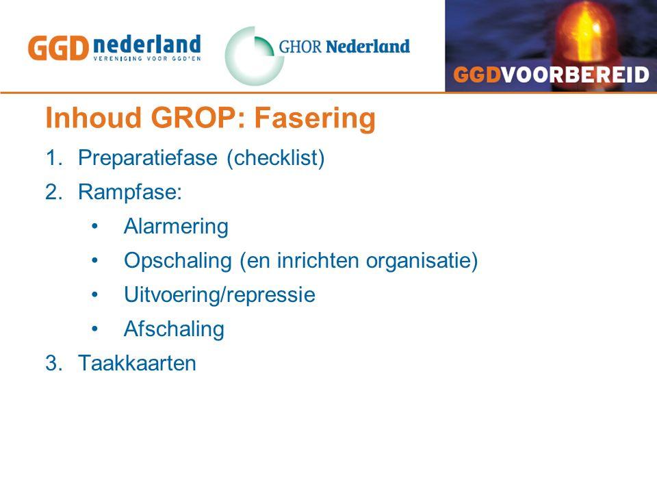 Inhoud GROP: Fasering 1.Preparatiefase (checklist) 2.Rampfase: Alarmering Opschaling (en inrichten organisatie) Uitvoering/repressie Afschaling 3.Taakkaarten