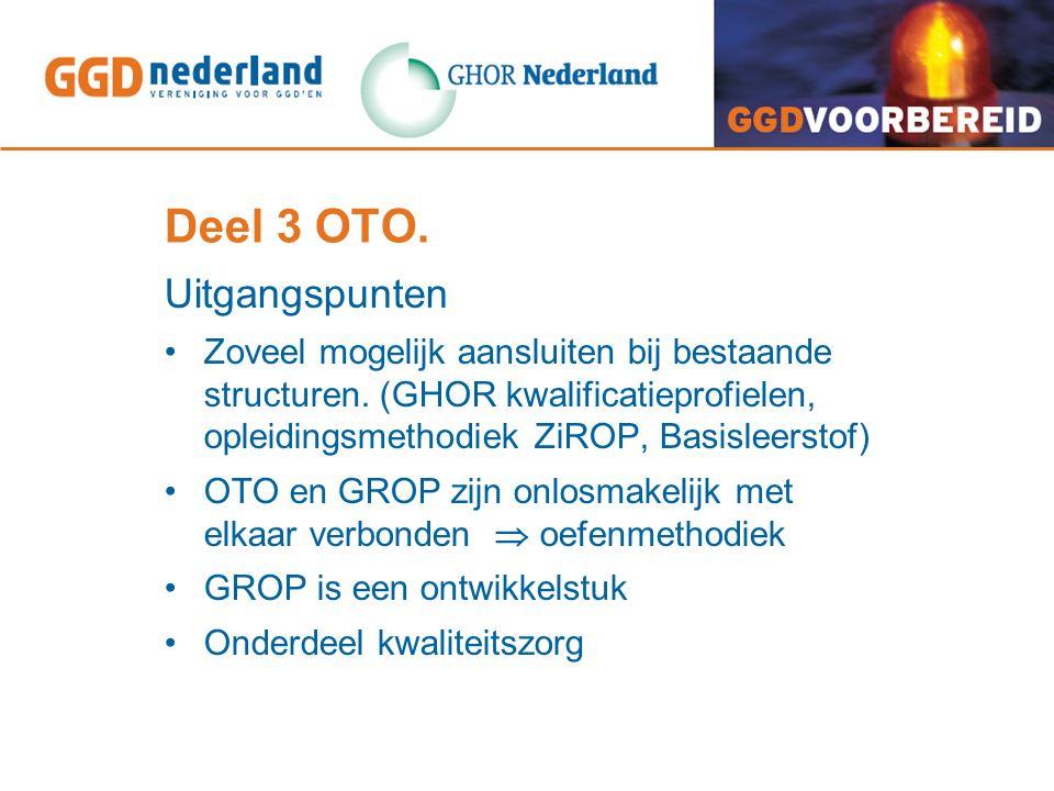 Deel 3 OTO. Uitgangspunten Zoveel mogelijk aansluiten bij bestaande structuren.