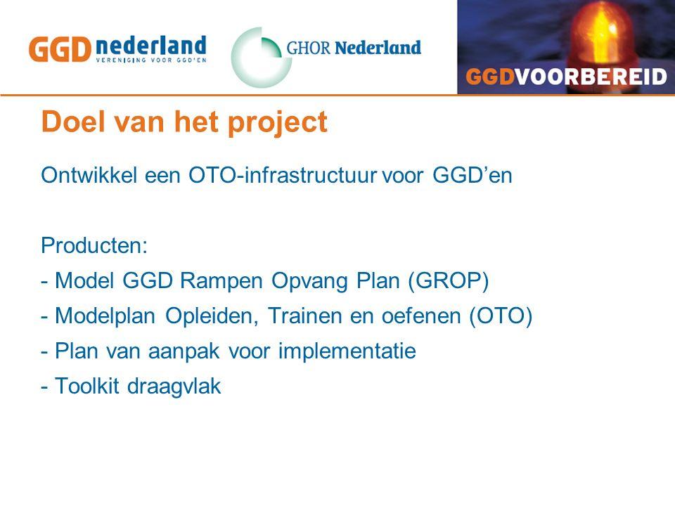 Doel van het project Ontwikkel een OTO-infrastructuur voor GGD'en Producten: - Model GGD Rampen Opvang Plan (GROP) - Modelplan Opleiden, Trainen en oefenen (OTO) - Plan van aanpak voor implementatie - Toolkit draagvlak