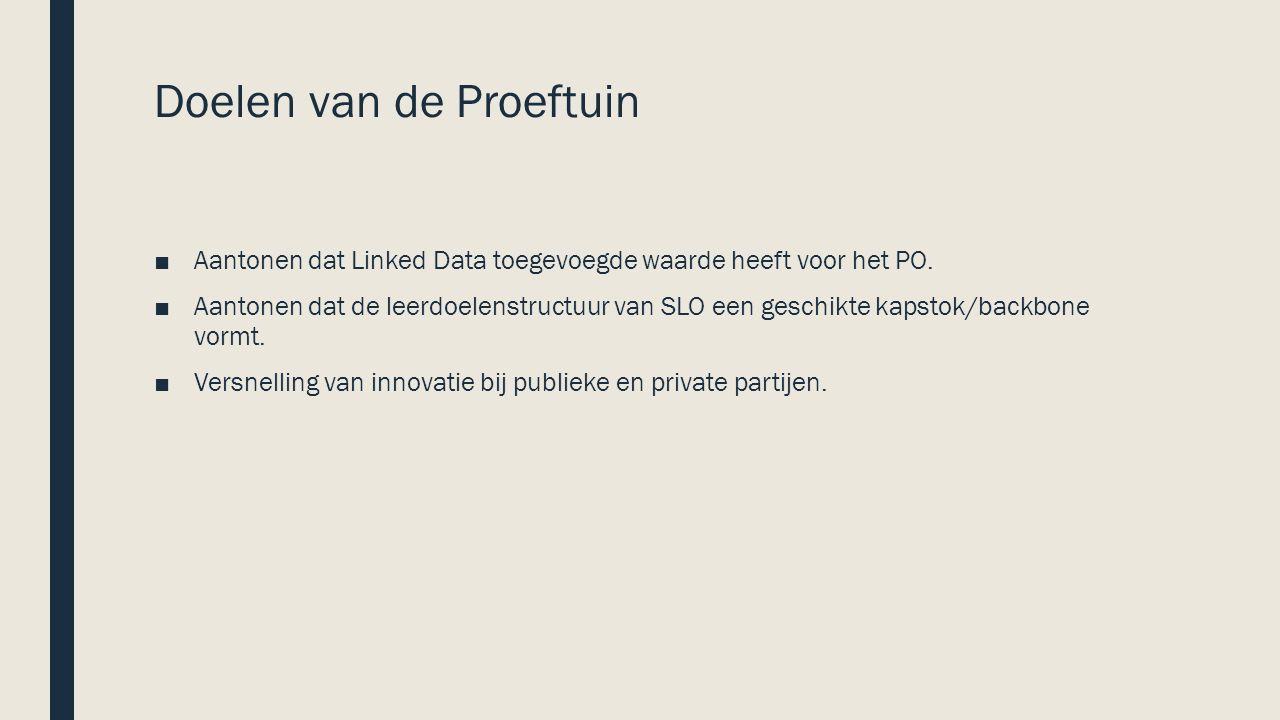 Doelen van de Proeftuin ■Aantonen dat Linked Data toegevoegde waarde heeft voor het PO.