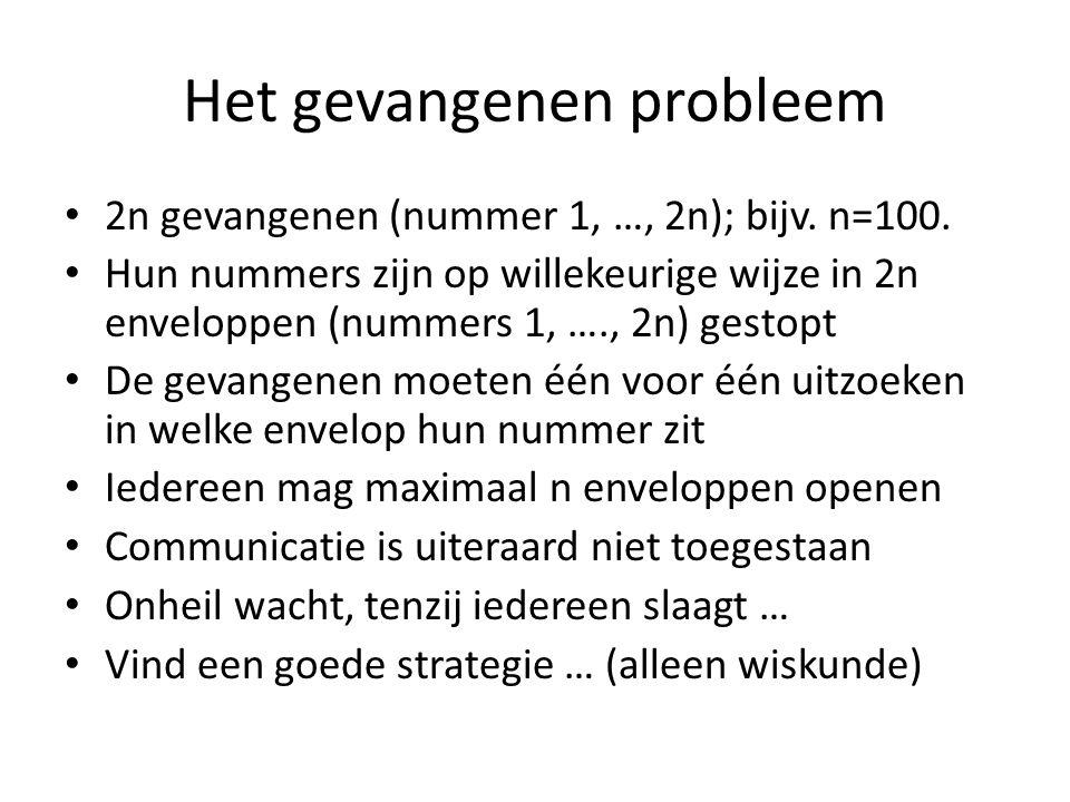 Het gevangenen probleem 2n gevangenen (nummer 1, …, 2n); bijv. n=100. Hun nummers zijn op willekeurige wijze in 2n enveloppen (nummers 1, …., 2n) gest