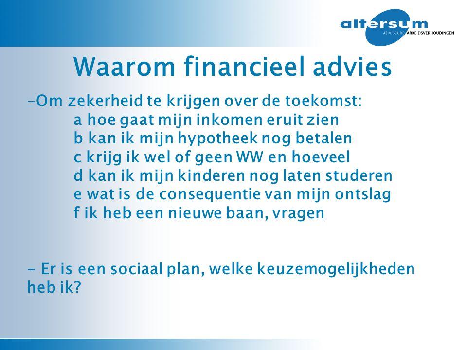 Waarom financieel advies -Om zekerheid te krijgen over de toekomst: a hoe gaat mijn inkomen eruit zien b kan ik mijn hypotheek nog betalen c krijg ik