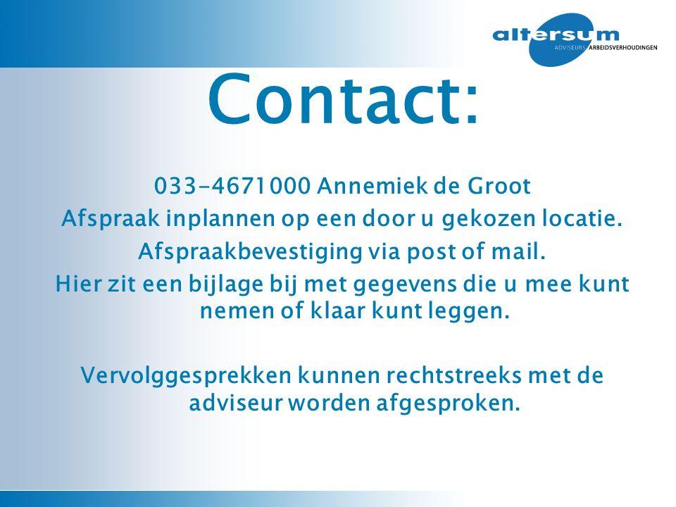 033-4671000 Annemiek de Groot Afspraak inplannen op een door u gekozen locatie. Afspraakbevestiging via post of mail. Hier zit een bijlage bij met geg