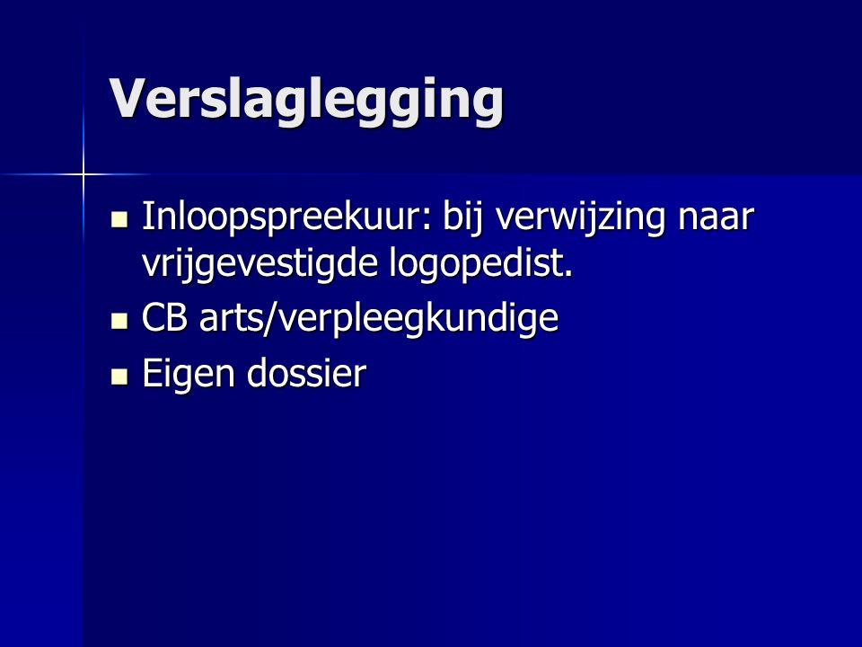 Verslaglegging Inloopspreekuur: bij verwijzing naar vrijgevestigde logopedist.