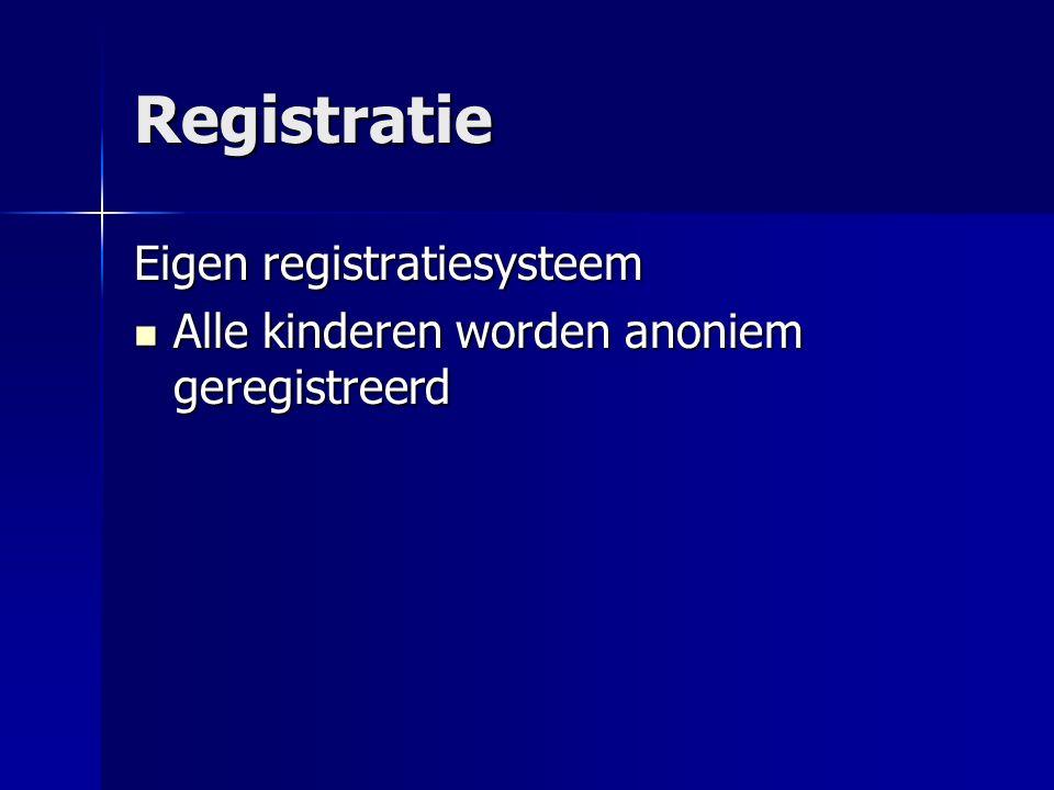 Registratie Eigen registratiesysteem Alle kinderen worden anoniem geregistreerd Alle kinderen worden anoniem geregistreerd