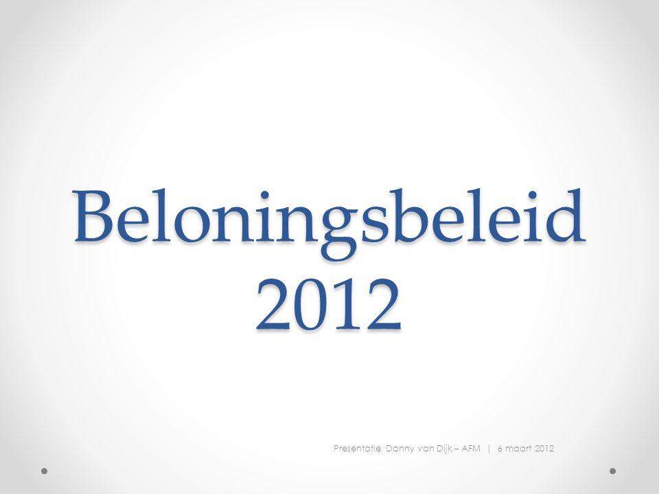 Beloningsbeleid 2012 Presentatie Danny van Dijk – AFM | 6 maart 2012