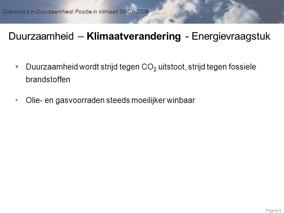 Dilemma's in Duurzaamheid: Positie in klimaat.