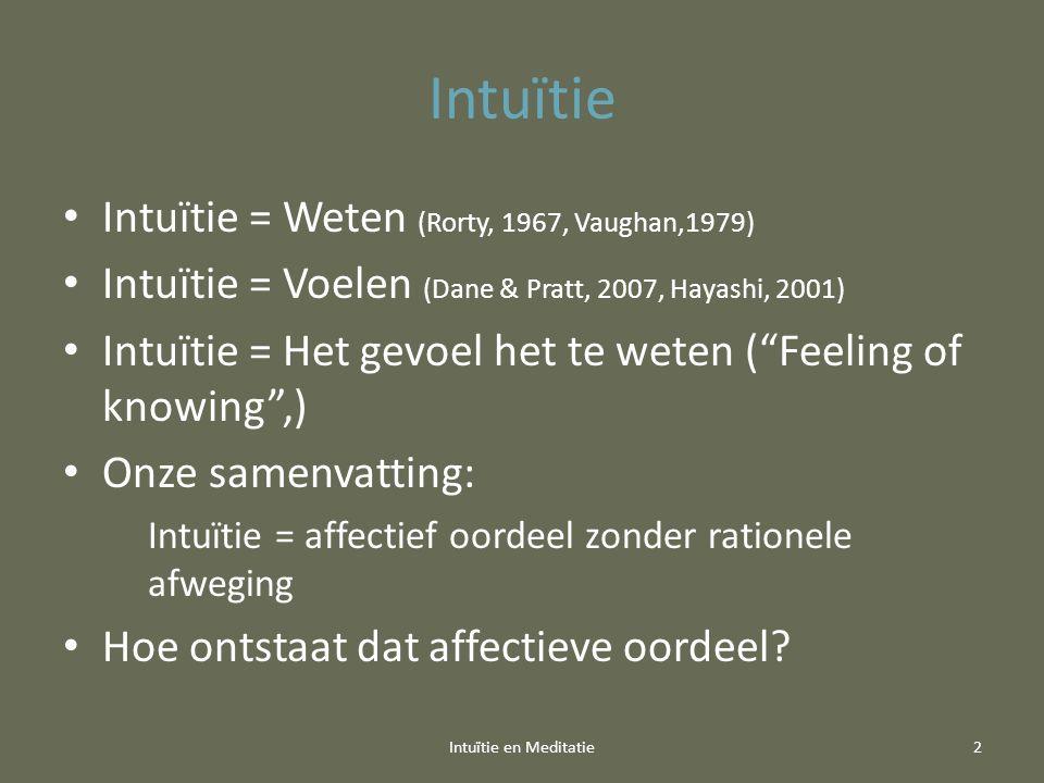 Intuïtie Intuïtie = Weten (Rorty, 1967, Vaughan,1979) Intuïtie = Voelen (Dane & Pratt, 2007, Hayashi, 2001) Intuïtie = Het gevoel het te weten ( Feeling of knowing ,) Onze samenvatting: Intuïtie = affectief oordeel zonder rationele afweging Hoe ontstaat dat affectieve oordeel.