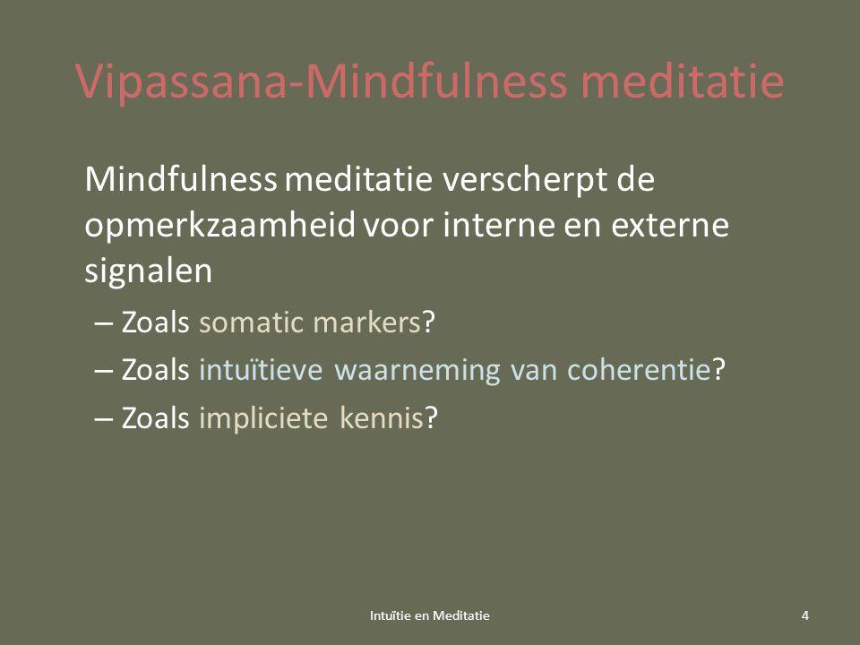 Vipassana-Mindfulness meditatie Mindfulness meditatie verscherpt de opmerkzaamheid voor interne en externe signalen – Zoals somatic markers? – Zoals i