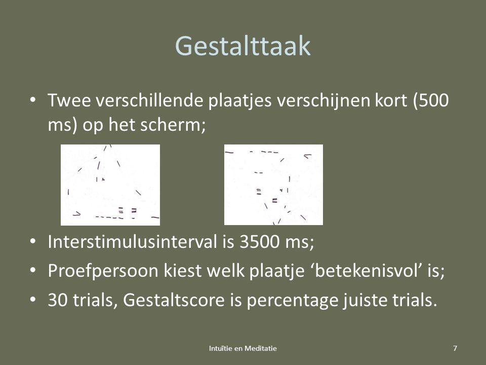 Gestalttaak Twee verschillende plaatjes verschijnen kort (500 ms) op het scherm; Interstimulusinterval is 3500 ms; Proefpersoon kiest welk plaatje 'be