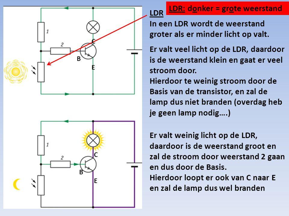 LDR In een LDR wordt de weerstand groter als er minder licht op valt.