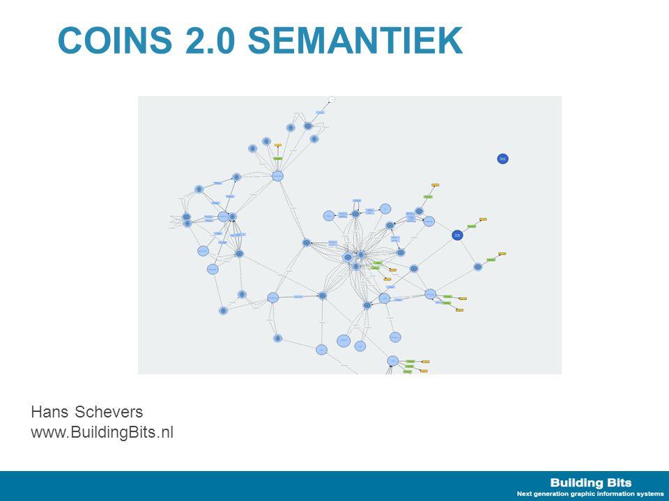 COINS 2.0 Standaard COINS 2.0 is gebaseerd op OWL 2.0 OWL –Gestandaardiseerd vocabulair voor RDF –Kennis representatie taal Kan extra informatie afleiden via Reasoners COINS 2.0 Semantiek –Wat en hoe gebruikt COINS 2.0 dit?