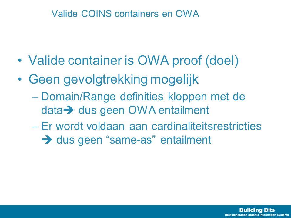 Valide COINS containers en OWA Valide container is OWA proof (doel) Geen gevolgtrekking mogelijk –Domain/Range definities kloppen met de data  dus ge