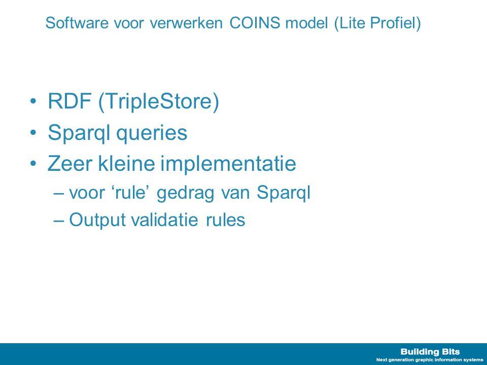 Software voor verwerken COINS model (Lite Profiel) RDF (TripleStore) Sparql queries Zeer kleine implementatie –voor 'rule' gedrag van Sparql –Output v