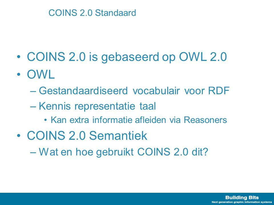 COINS 2.0 Standaard COINS 2.0 is gebaseerd op OWL 2.0 OWL –Gestandaardiseerd vocabulair voor RDF –Kennis representatie taal Kan extra informatie aflei