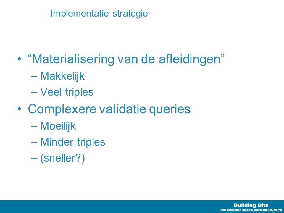 """Implementatie strategie """"Materialisering van de afleidingen"""" –Makkelijk –Veel triples Complexere validatie queries –Moeilijk –Minder triples –(sneller"""