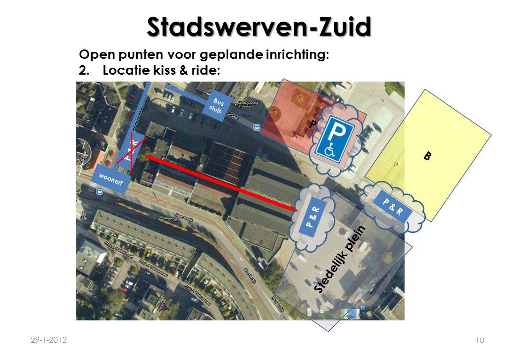 Stadswerven-Zuid 29-1-201210 Open punten voor geplande inrichting: 2.Locatie kiss & ride: P B Stedelijk plein P & R woonerf Bus sluis P & R