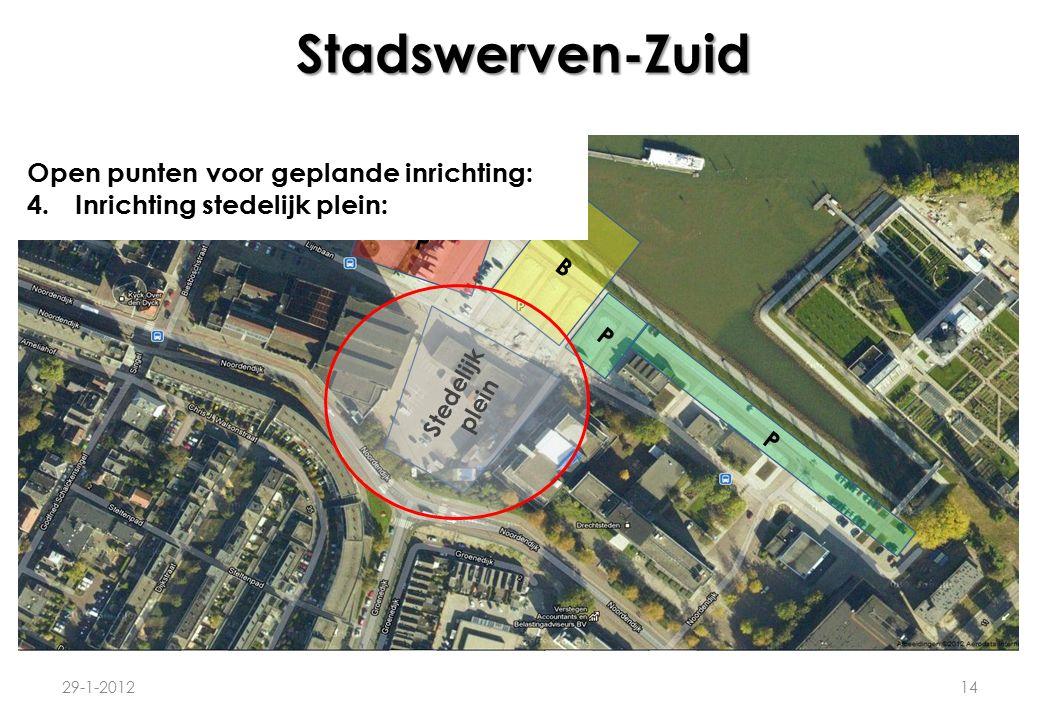 Stadswerven-Zuid 29-1-201214 P B P P Stedelijk plein Open punten voor geplande inrichting: 4.Inrichting stedelijk plein: