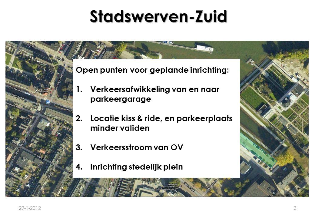 Stadswerven-Zuid 29-1-20122 P B P P Stedelijk plein Open punten voor geplande inrichting: 1.Verkeersafwikkeling van en naar parkeergarage 2.Locatie ki