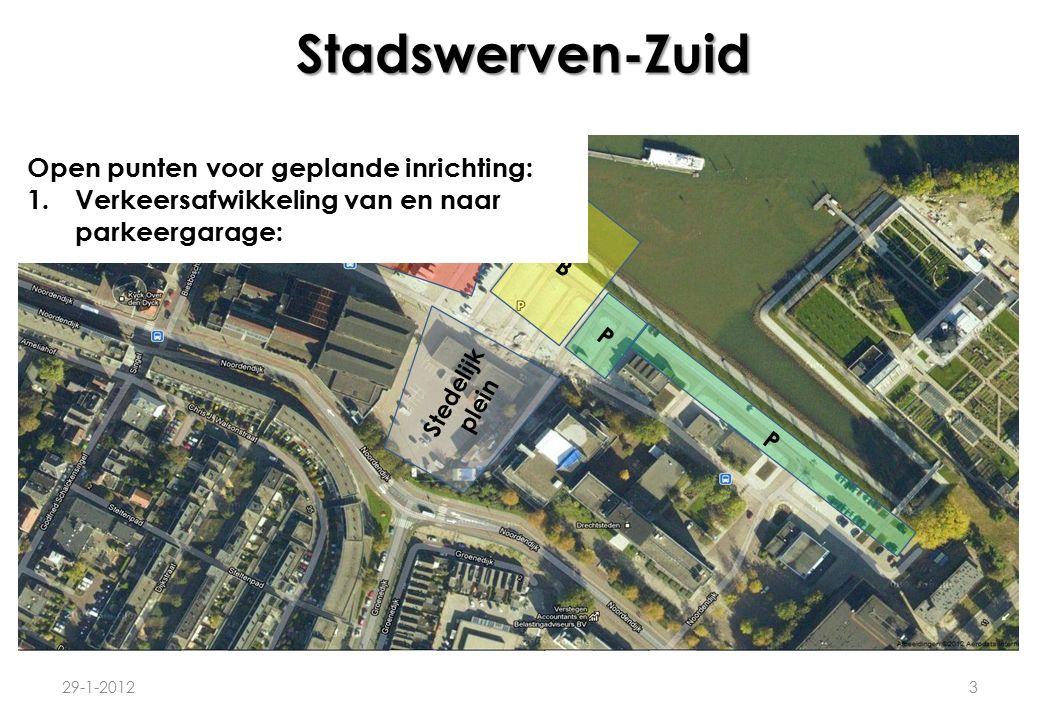 Stadswerven-Zuid 29-1-20123 P B P P Stedelijk plein Open punten voor geplande inrichting: 1.Verkeersafwikkeling van en naar parkeergarage:
