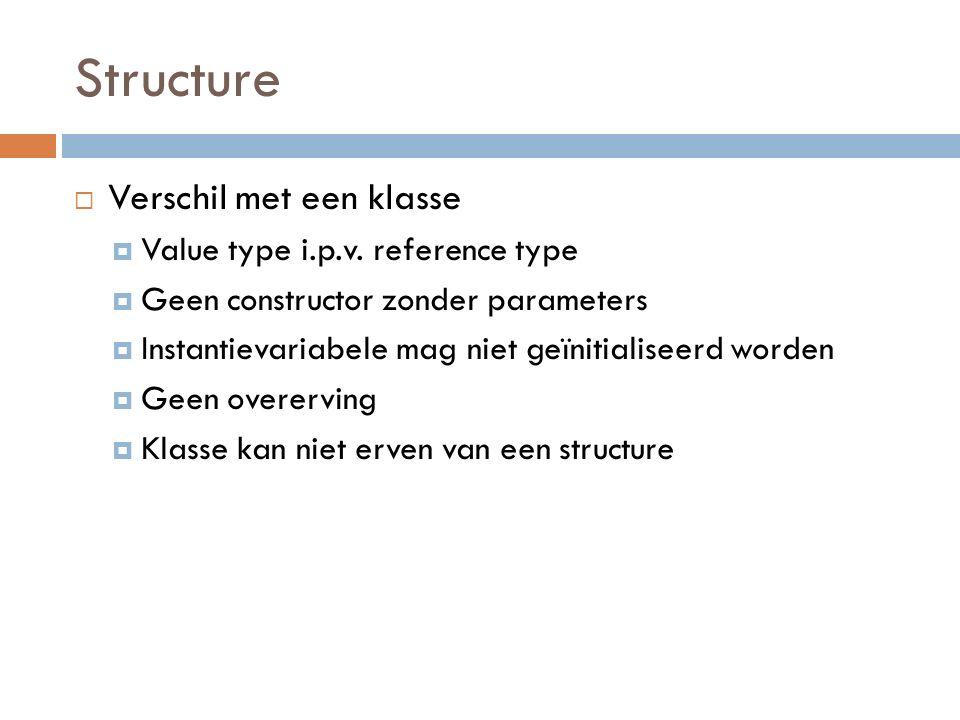 Structure  Verschil met een klasse  Value type i.p.v.