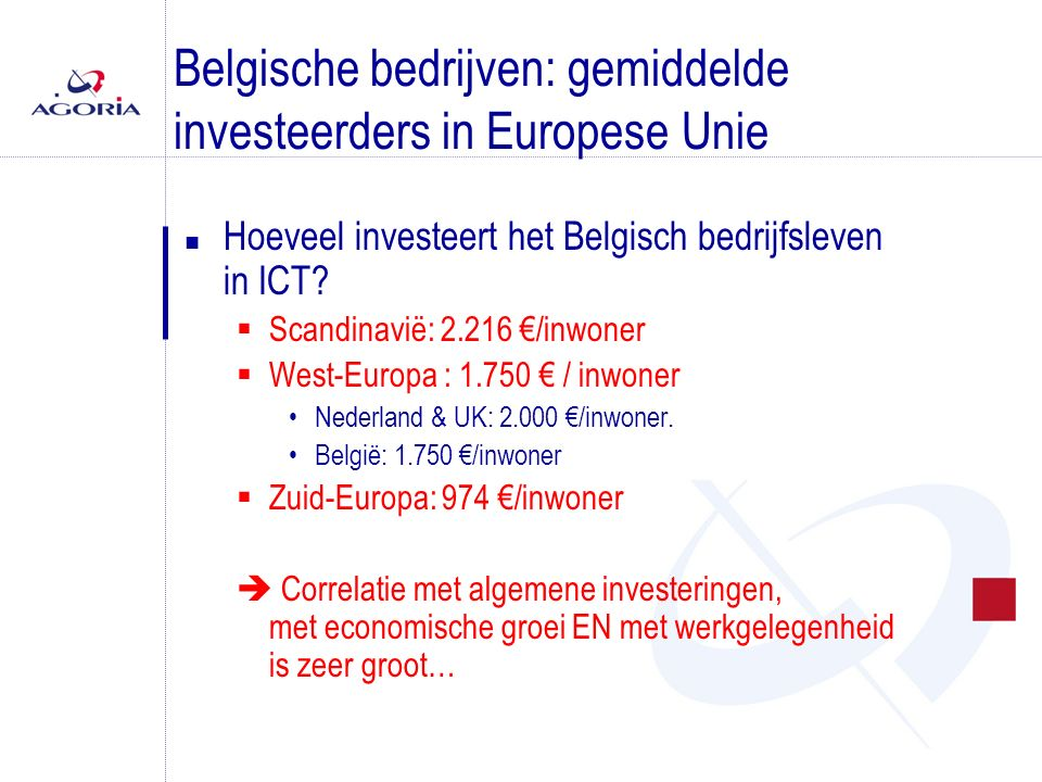Belgische bedrijven: gemiddelde investeerders in Europese Unie n Hoeveel investeert het Belgisch bedrijfsleven in ICT?  Scandinavië: 2.216 €/inwoner