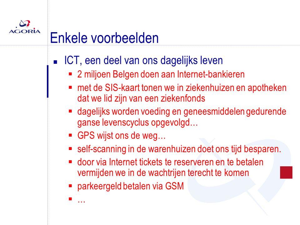 Enkele voorbeelden n ICT, een deel van ons dagelijks leven  2 miljoen Belgen doen aan Internet-bankieren  met de SIS-kaart tonen we in ziekenhuizen en apotheken dat we lid zijn van een ziekenfonds  dagelijks worden voeding en geneesmiddelen gedurende ganse levenscyclus opgevolgd…  GPS wijst ons de weg…  self-scanning in de warenhuizen doet ons tijd besparen.