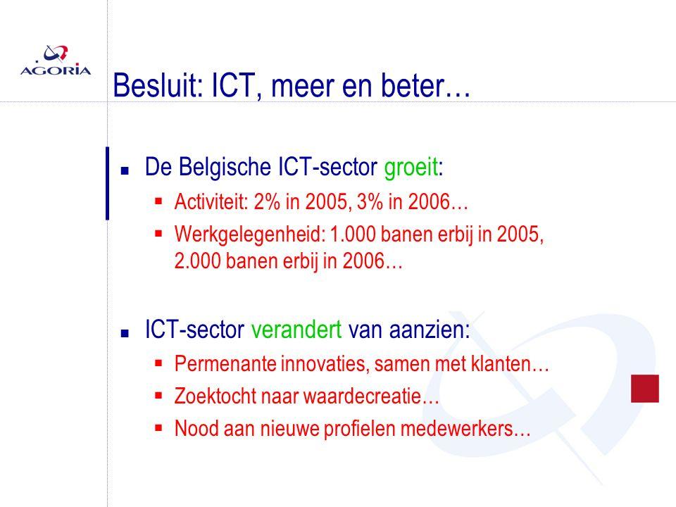 Besluit: ICT, meer en beter… n De Belgische ICT-sector groeit:  Activiteit: 2% in 2005, 3% in 2006…  Werkgelegenheid: 1.000 banen erbij in 2005, 2.0