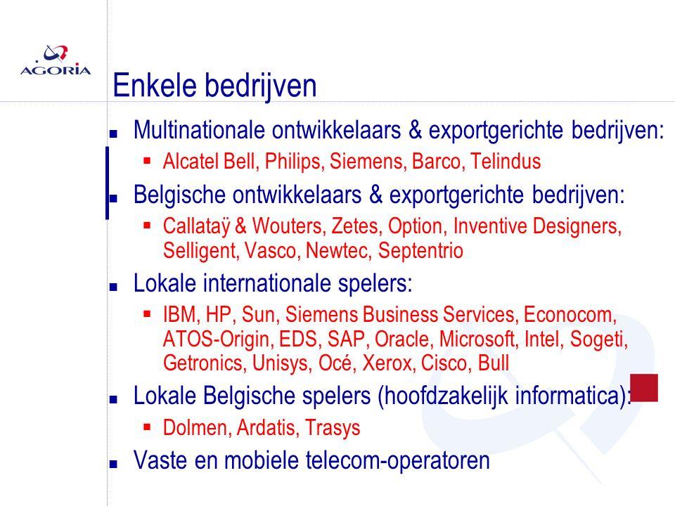 Enkele bedrijven n Multinationale ontwikkelaars & exportgerichte bedrijven:  Alcatel Bell, Philips, Siemens, Barco, Telindus n Belgische ontwikkelaars & exportgerichte bedrijven:  Callataÿ & Wouters, Zetes, Option, Inventive Designers, Selligent, Vasco, Newtec, Septentrio n Lokale internationale spelers:  IBM, HP, Sun, Siemens Business Services, Econocom, ATOS-Origin, EDS, SAP, Oracle, Microsoft, Intel, Sogeti, Getronics, Unisys, Océ, Xerox, Cisco, Bull n Lokale Belgische spelers (hoofdzakelijk informatica):  Dolmen, Ardatis, Trasys n Vaste en mobiele telecom-operatoren