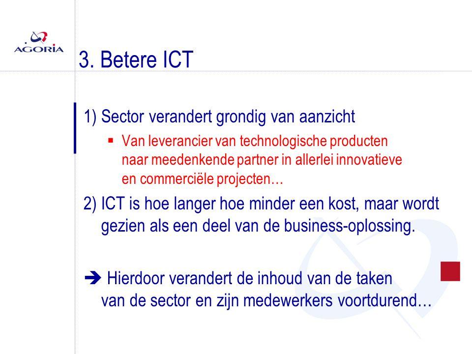3. Betere ICT 1) Sector verandert grondig van aanzicht  Van leverancier van technologische producten naar meedenkende partner in allerlei innovatieve