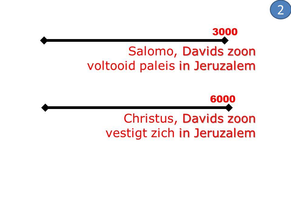 3000 6000 Davids zoon in Jeruzalem Salomo, Davids zoon voltooid paleis in Jeruzalem Davids zoon Christus, Davids zoon in Jeruzalem vestigt zich in Jer