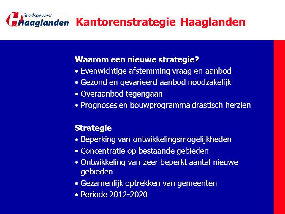 Kantorenstrategie Haaglanden Waarom een nieuwe strategie? Evenwichtige afstemming vraag en aanbod Gezond en gevarieerd aanbod noodzakelijk Overaanbod