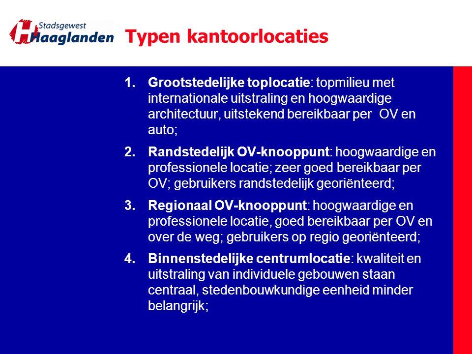 Typen kantoorlocaties 1.Grootstedelijke toplocatie: topmilieu met internationale uitstraling en hoogwaardige architectuur, uitstekend bereikbaar per O