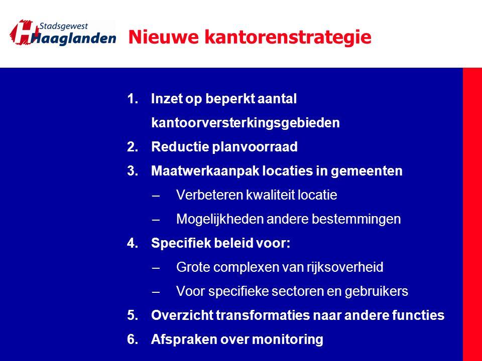 Nieuwe kantorenstrategie 1.Inzet op beperkt aantal kantoorversterkingsgebieden 2.Reductie planvoorraad 3.Maatwerkaanpak locaties in gemeenten –Verbete