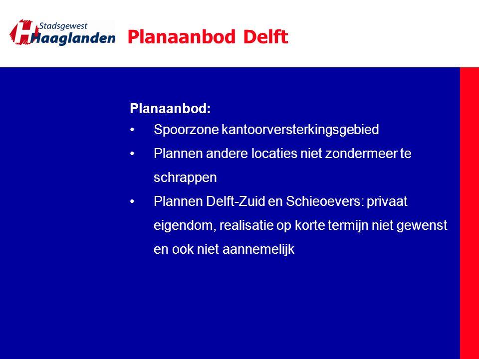 Planaanbod Delft Planaanbod: Spoorzone kantoorversterkingsgebied Plannen andere locaties niet zondermeer te schrappen Plannen Delft-Zuid en Schieoever