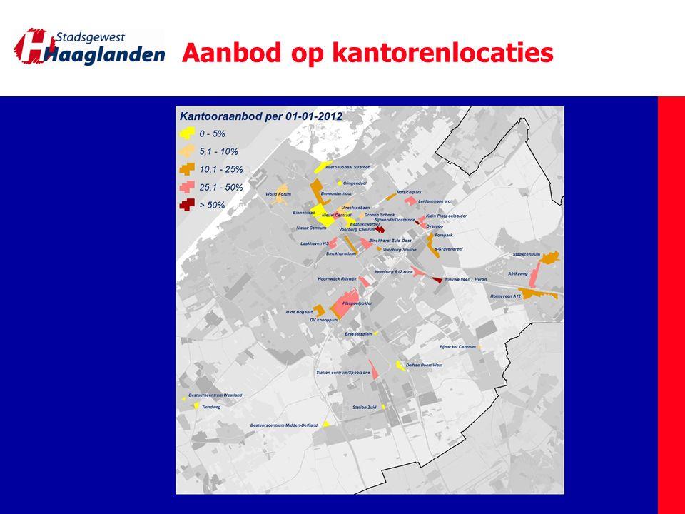 Toekomst bij ongewijzigd beleid 1.Planruimte van 1,5 miljoen m 2 in Haaglanden tot 2020 2.Leegstand van 1,1 miljoen m 2 nu 3.Extra leegstand Rijk 0,5 miljoen m 2 4.Tot 2020: sloopplannen 0,4 miljoen m 2 Leegstand in 2020: 2,7 miljoen m 2