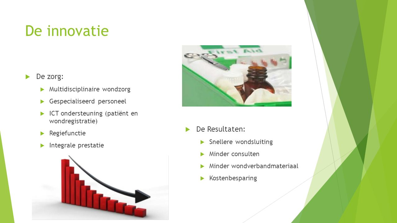 De innovatie  De zorg:  Multidisciplinaire wondzorg  Gespecialiseerd personeel  ICT ondersteuning (patiënt en wondregistratie)  Regiefunctie  Integrale prestatie  De Resultaten:  Snellere wondsluiting  Minder consulten  Minder wondverbandmateriaal  Kostenbesparing