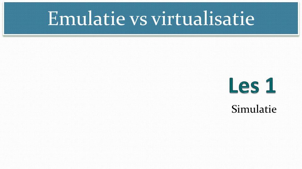 Emulatie vs virtualisatie © Marcel Beelen Simulatie Simulatie met comuters: nabootsen van omgevingen en werelden Simulatie van computers: nabootsen van computeromgevingen (GUI, applicatie, component) Simulatie functioneert snel Simulatie toont vaak een subset van het origineel