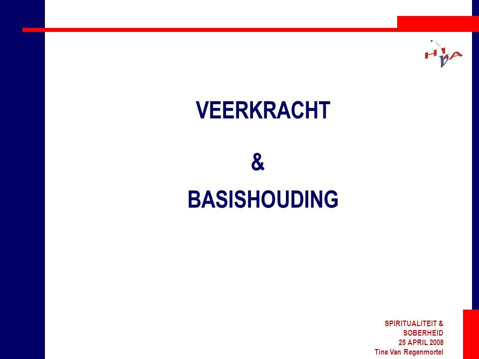 SPIRITUALITEIT & SOBERHEID 25 APRIL 2008 Tine Van Regenmortel VEERKRACHT & BASISHOUDING