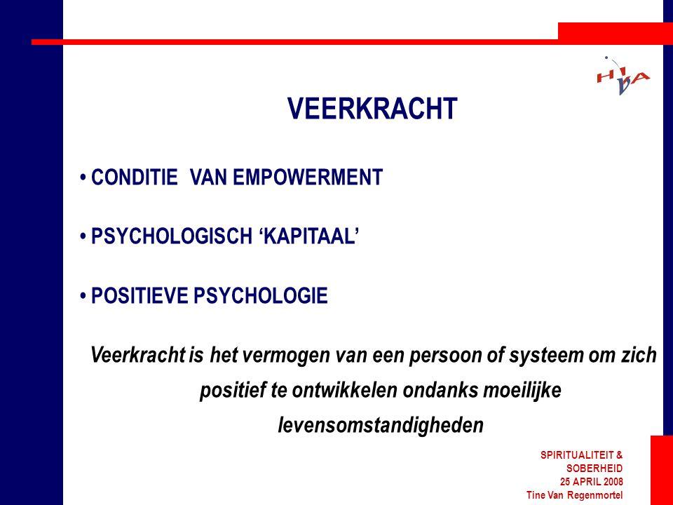 SPIRITUALITEIT & SOBERHEID 25 APRIL 2008 Tine Van Regenmortel VEERKRACHT CONDITIE VAN EMPOWERMENT PSYCHOLOGISCH 'KAPITAAL' POSITIEVE PSYCHOLOGIE Veerkracht is het vermogen van een persoon of systeem om zich positief te ontwikkelen ondanks moeilijke levensomstandigheden