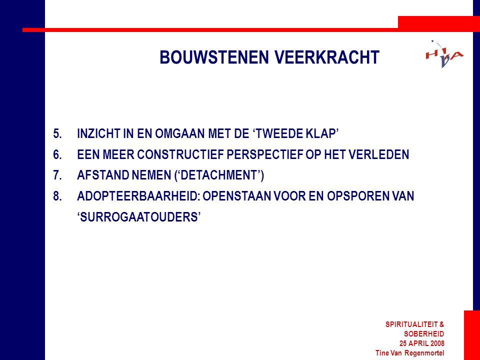 SPIRITUALITEIT & SOBERHEID 25 APRIL 2008 Tine Van Regenmortel BOUWSTENEN VEERKRACHT 5.INZICHT IN EN OMGAAN MET DE 'TWEEDE KLAP' 6.EEN MEER CONSTRUCTIE