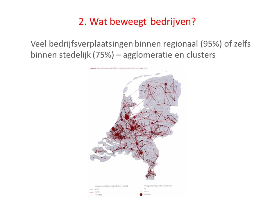 2. Wat beweegt bedrijven? Veel bedrijfsverplaatsingen binnen regionaal (95%) of zelfs binnen stedelijk (75%) – agglomeratie en clusters