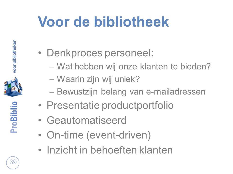 Voor de bibliotheek Denkproces personeel: –Wat hebben wij onze klanten te bieden.