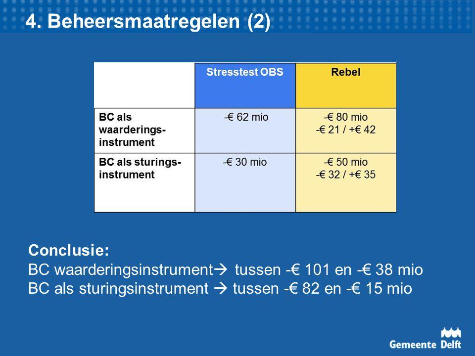 4. Beheersmaatregelen (2) Conclusie: BC waarderingsinstrument  tussen -€ 101 en -€ 38 mio BC als sturingsinstrument  tussen -€ 82 en -€ 15 mio