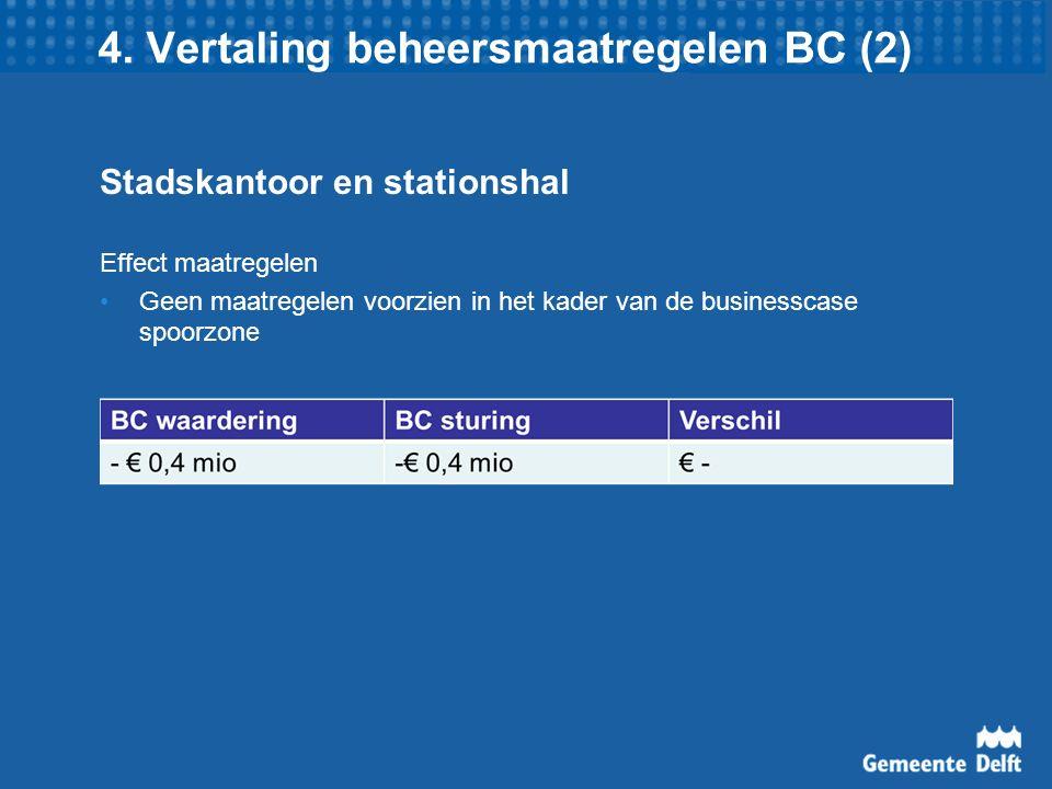 4. Vertaling beheersmaatregelen BC (2) Stadskantoor en stationshal Effect maatregelen Geen maatregelen voorzien in het kader van de businesscase spoor