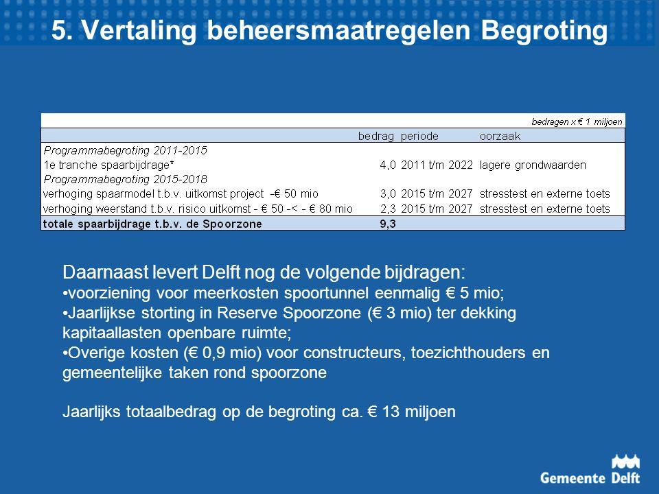 5. Vertaling beheersmaatregelen Begroting Daarnaast levert Delft nog de volgende bijdragen: voorziening voor meerkosten spoortunnel eenmalig € 5 mio;