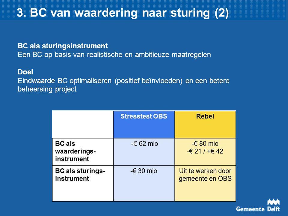 3. BC van waardering naar sturing (2) BC als sturingsinstrument Een BC op basis van realistische en ambitieuze maatregelen Doel Eindwaarde BC optimali